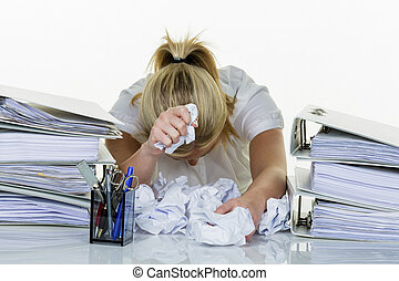 ind, kontoret, hos, burnout