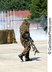 indblanding, militær, camouflaged, solder.