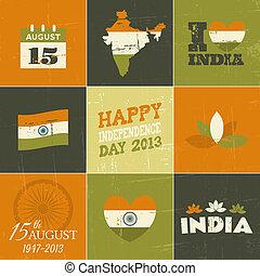 inde, jour, collection, indépendance