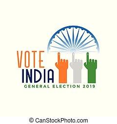 inde, main, doigt, vote, général, élection