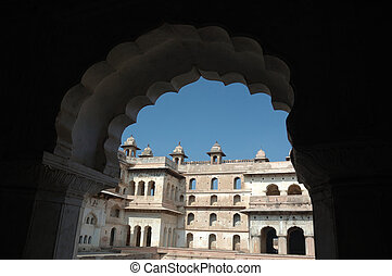 inde, palais, tribunal, pradesh, raj, orchha, mahal, madhya