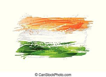 inde, peinture, coloré, grunge, drapeau, texture., blanc, isolé, smears, arrière-plan., fait, eclabousse