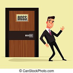 Indecisive office worker man manager character standing under boss door and thinking come in or not. Vector flat graphic design cartoon isolated illustration