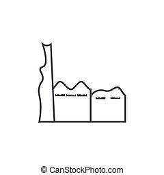 indeling, schets, fabriek, illustratie, vector, ontwerp, pictogram