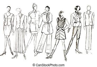 indelingen, vrouwlijk, kleren