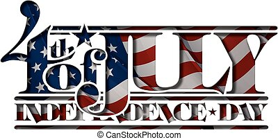 independance, 4, recorte, julio, día