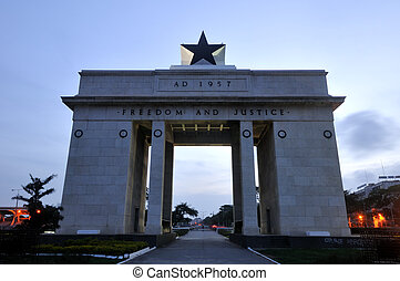 """The Independence Square of Accra, Ghana, inscribed with the words """"Freedom and Justice, AD 1957"""", commemorates the independence of Ghana, a first for Sub Saharan Africa. It contains monuments to Ghana's independence struggle, including the Independence Arch, Black Star Square, and the Liberation Day..."""