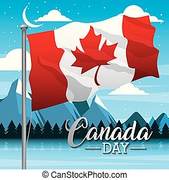 independence canada day mountains stars clouds design flag ...