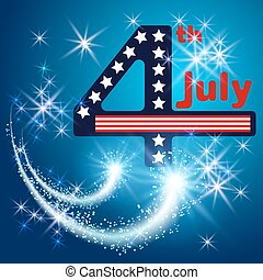 Independence day 4 th july with salute and firework. -...