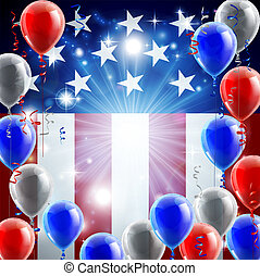 A patriotic American USA 4th July independence day or veterans day background with red white and blue party balloons