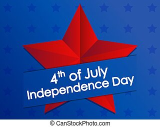 Independence Day 4th of July. Festive banner with red star on blue gradient background. Vector illustration
