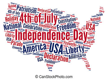 Independence day 4th of July in USA word cloud