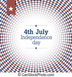 Independence Day. 4th of July. Poster design with blue and red checkered abstract background.