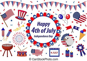 Independence Day America celebration in USA, icons set, design element, flat style. Collection objects for July 4th national holiday with a flag, map, barbecue, bunting, fireworks.Vector illustration.