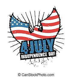 Independence Day America. Symbol of countrys eagle with wings and USA flag in grunge style. American National Patriotic July 4th holiday. emblem of elebration of United States Government