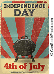Independence Day American Poster in Retro Style with BBQ....