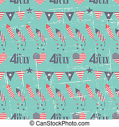 Seamless pattern for the American Independence Day in red, white and blue.