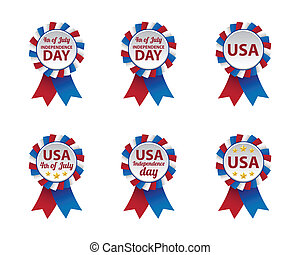 Collection of independence day badges