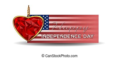 Independence Day banner. Heart shaped gemstone set in gold....