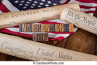 Independence Day banner with Historical Documents and the American flag