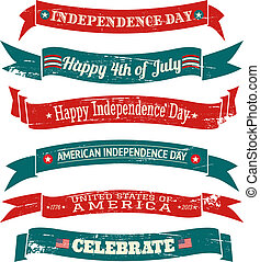 Independence Day Banners Collection - A set of six grungy US...