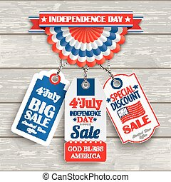 Independence Day Bunting 3 Price Stickers Wood