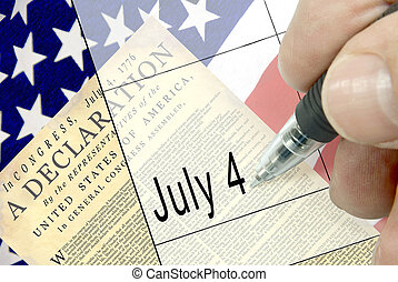 Pen-in-hand calendar notation of United States holiday, Independence Day, Fourth of July, July 4, American flag, floral display, and national cemetary in background.