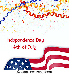 Independence Day card with American flag,