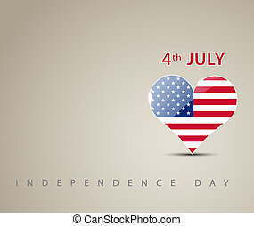 Independence day card with heart decorated as an american...