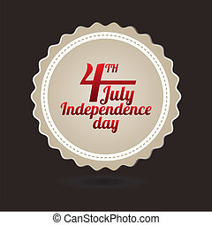 independence day label over gray background. vector