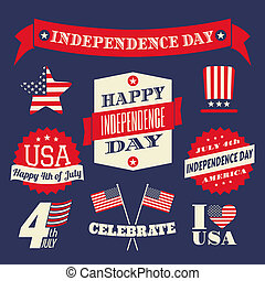 Independence Day Design Elements Se - A set of retro style...