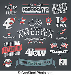 Independence Day Design Elements Se - A set of chalkboard...