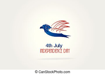 Independence Day Eagle American Flag vector logo