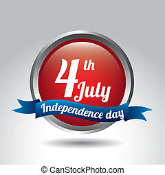 independence day button over gray background. vector