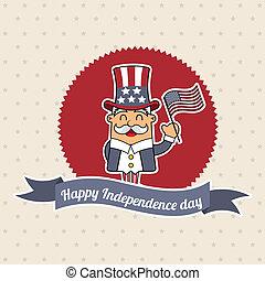 independence day label over beige background. vector