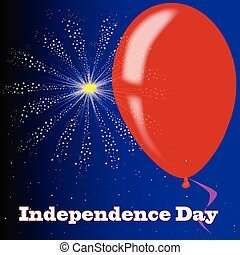 Independence Day Firework Display - A flyaway red balloon...