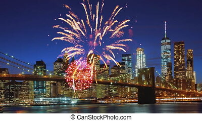 Independence day fireworks over Manhattan, New York city -...