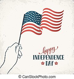 Happy Independence Day. Women's hand holding USA flag with text on retro background. USA Independence Day banner in vintage style.