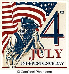 Independence Day - Fourth of July Vector vintage...