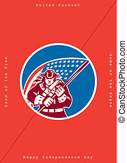 Independence Day Greeting Card-American Patriot Holding Flag