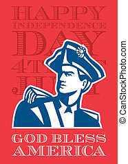 Independence Day Greeting Card-American Patriot Soldier Bust