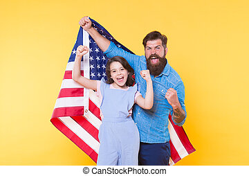 Independence day holiday. Independence is happiness. Father bearded hipster and cute little daughter with USA flag. How do americans celebrate independence day. Patriotic family cheerful and friendly