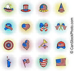 Independence Day icons, comics style