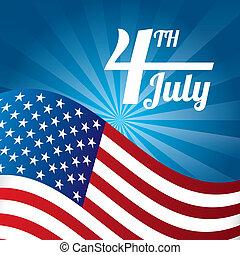 independence day illustration over blue background. vector