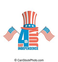 Independence Day in America. Uncle Sam hat and USA flag. National American holiday. Emblem patriot