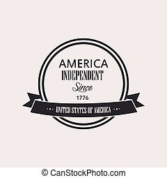 Isolated label with text for independence day