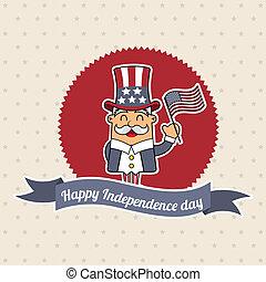 independence day label over beige background. vector