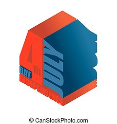 Independence Day of America 3d sign. volumetric symbol typography for holiday in USA. National Patriotic emblem