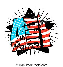 Independence Day of America. Statue of Liberty and USA flag in grunge style. Brush stroke. National public holiday in United States. Logo for patriotic celebration