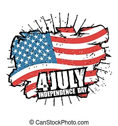 Independence Day of America. USA flag grunge style Brush strokes and ink splatter. National symbol of United States